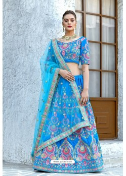 Blue Velvet Sequins Embroidered Designer Lehenga Choli