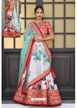 Pink And Light Red Silk Sequins Embroidered Designer Lehenga Choli