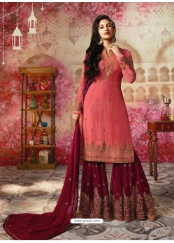 Peach And Maroon Satin Georgette Embroidered Designer Sarara Suit