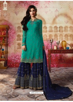 Aqua Mint And Navy Satin Georgette Embroidered Designer Sarara Suit
