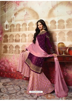 Purple And Pink Satin Georgette Embroidered Designer Sarara Suit