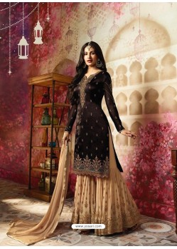 Coffee And Cream Satin Georgette Embroidered Designer Sarara Suit
