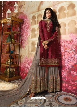 Maroon And Grey Satin Georgette Embroidered Designer Sarara Suit