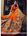 Mustard And Orange Net And Bamber Georgette Saree