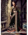 Amazing Black Net And Georgette Designer Saree