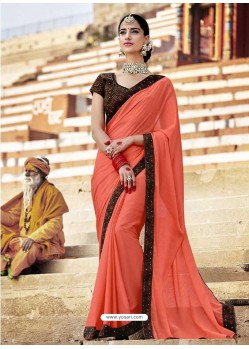 Light Red Fancy Lace Worked Saree