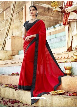 Red Fancy Lace Worked Saree