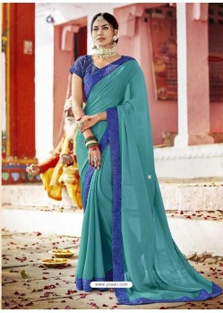 Turquoise Fancy Lace Worked Saree