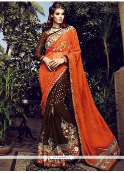 Brown And Orange Viscose And Net Designer Saree