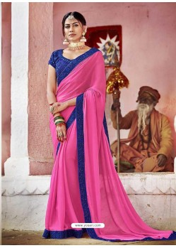 Hot Pink Fancy Lace Worked Saree