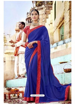 Royal Blue Fancy Lace Worked Saree