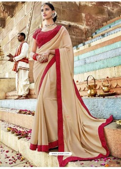 Beige Fancy Lace Worked Saree