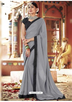 Grey Fancy Lace Worked Saree