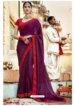 Deep Wine Fancy Lace Worked Saree