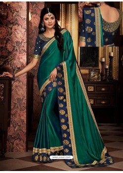 Teal Fancy Embroidery Work Party Wear Saree