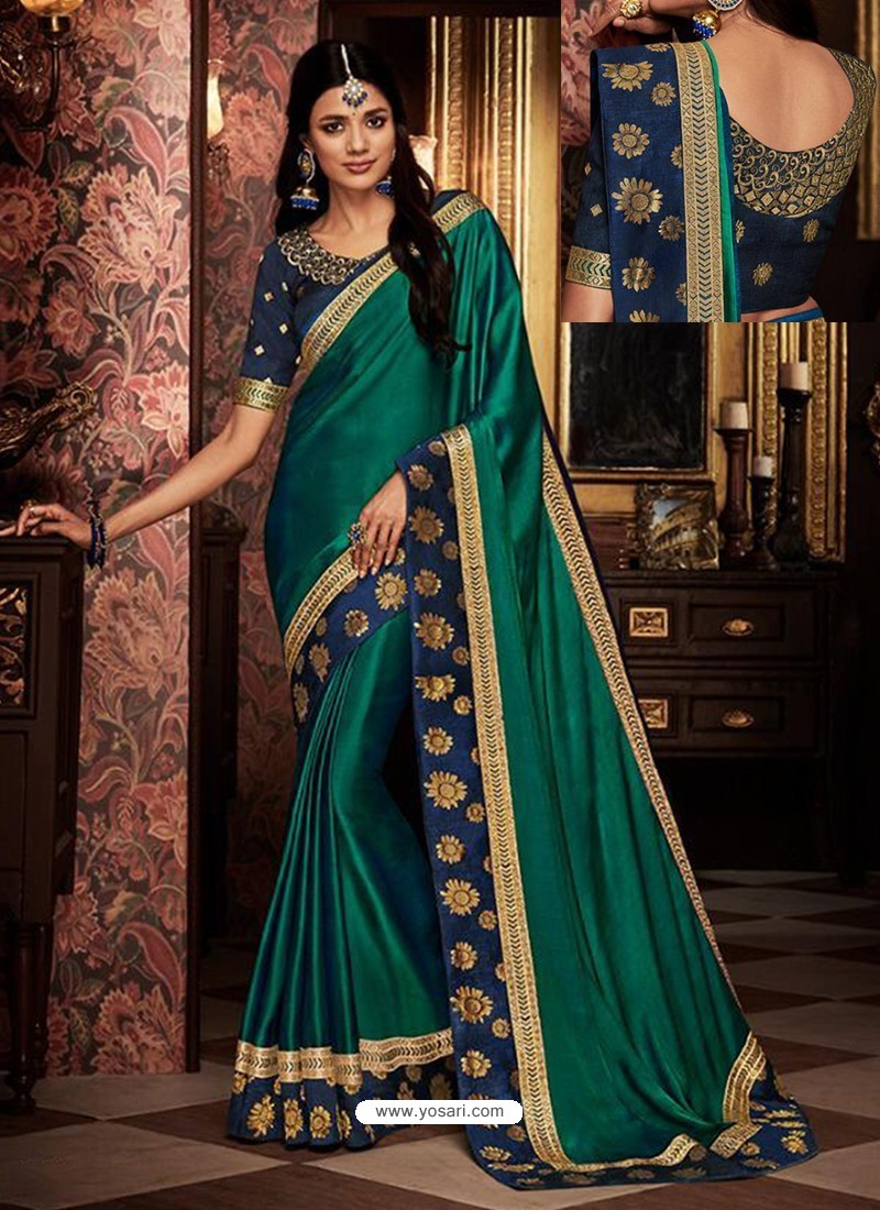181df48442 Buy Teal Fancy Embroidery Work Party Wear Saree | Party Wear Sarees