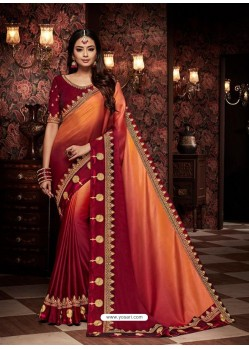 Red And Orange Fancy Embroidery Work Party Wear Saree