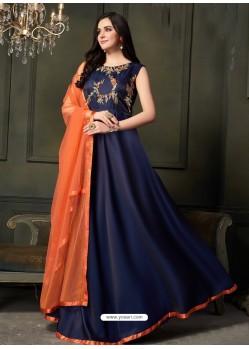 Navy Blue Heavy Tapeta Satin Silk Floor Length Suit