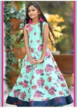 Sky Blue Silk Hand Worked Designer Gown