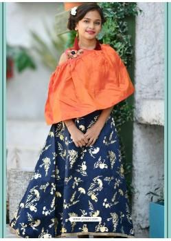 Orange And Navy Silk Hand Worked Designer Gown