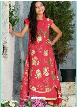 Red Silk Hand Worked Designer Gown