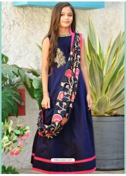 Navy Blue Silk Hand Worked Designer Gown