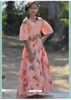 Peach Silk Hand Worked Designer Gown