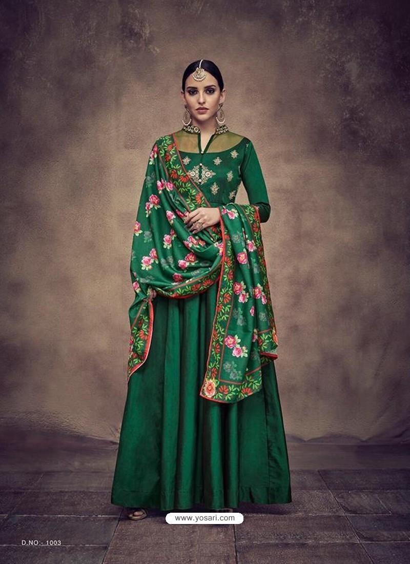336a9f6b07 Buy Dark Green Heavy Tapeta Silk Embroidered Anarkali Suit ...