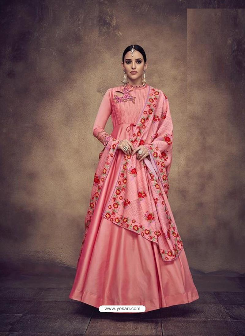 381b475dab7 Buy Peach Heavy Tapeta Silk Embroidered Anarkali Suit