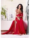 Blooming Red Shaded Faux Chiffon Saree