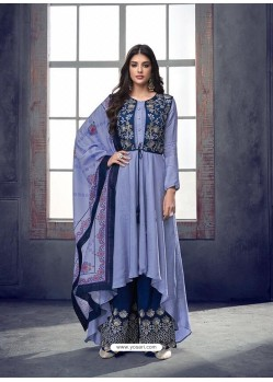 Blue Pure Heavy Maslin Designer Palazzo Suit