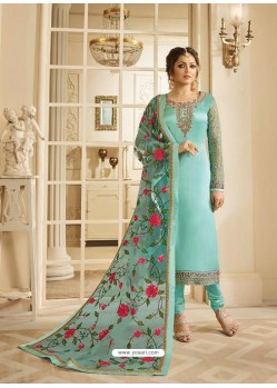 Sky Blue Satin Georgette Embroidered Designer Churidar Suit