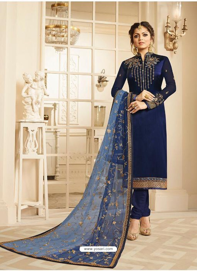 Navy Blue Satin Georgette Embroidered Designer Churidar Suit