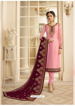 Pink Satin Georgette Embroidered Designer Churidar Suit