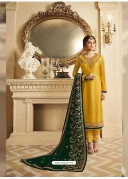 Yellow Satin Georgette Embroidered Designer Churidar Suit