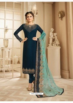 Peacock Blue Satin Georgette Embroidered Designer Churidar Suit