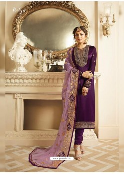 Purple Satin Georgette Embroidered Designer Churidar Suit