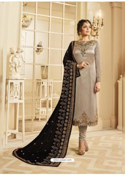 Light Brown Satin Georgette Embroidered Designer Churidar Suit