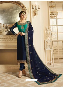 Navy And Mint Satin Georgette Embroidered Designer Churidar Suit