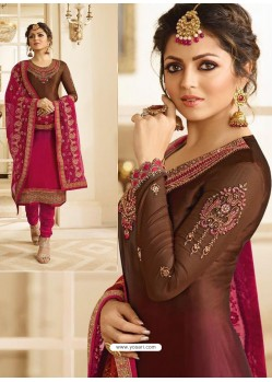 Rose Red And Coffee Satin Georgette Embroidered Designer Churidar Suit