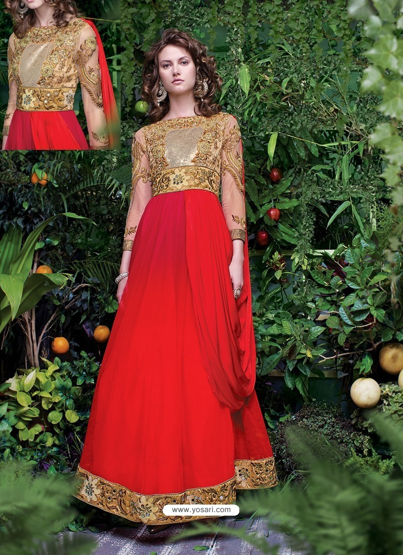 41c31ce139 Buy Red And Gold Shaded Net Heavy Embroidered Designer Gown | Gowns