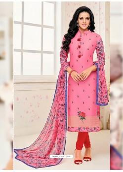 Light Pink Chanderi Cotton Printed Churidar Suit