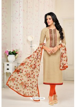 Light Beige Chanderi Cotton Printed Churidar Suit