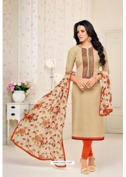 Light Beige Chanderi Cotton Printed Churidar Suit
