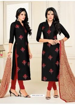 Black Chanderi Cotton Printed Churidar Suit