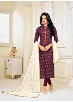 Purple Chanderi Cotton Printed Churidar Suit
