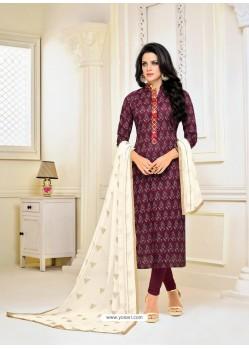 Purple Chanderi Cotton Printed Churidar Suit