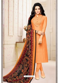 Orange Chanderi Cotton Printed Churidar Suit