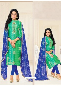 Mint And Blue Chanderi Cotton Printed Churidar Suit