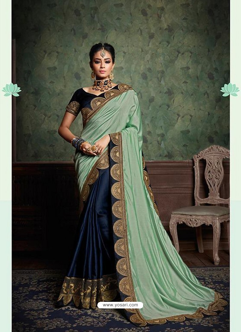 4dde987e38 Buy Sea Green And Navy Party Wear Designer Silk Saree | Party Wear ...